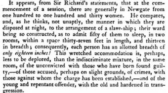 Conditions at Newgate prison in 1808 when some of the female convicts of the Speke were held there