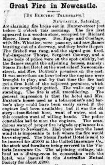 Fire in the Steampacket Inn at Newcastle Australian Town & Country Journal 3 September 1881