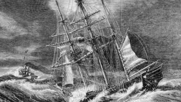 Barque Norham Castle Abandoned by the Steam Tug Mystery - Illustrated Australian News 9 August 1875