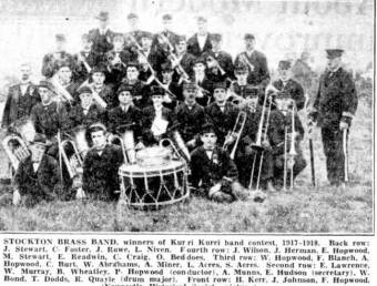 Stockton Brass Band 1917 - 1918 - The Sun 15 August 1950