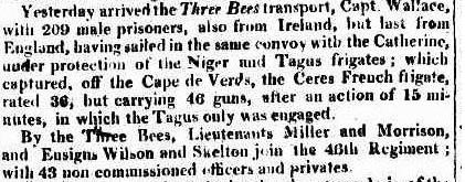 Arrival in Port Jackson of the convict ship Three Bees - Sydney Gazette 7 May 1814 in 1814