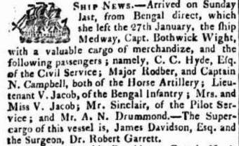 Arrival of Vicars Jacob Hobart Town Gazette 20 April 1822