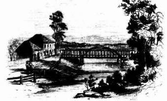 Wallis Creek Bridge between East and West Maitland -  Illustrated Sydney News and New South Wales Agriculturalist and Grazier (NSW : 1872 - 1881)  Sat 25 Oct 1873