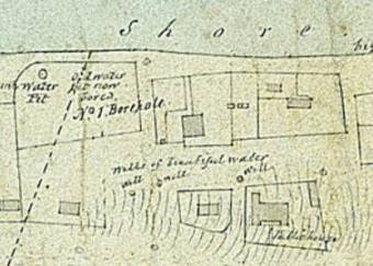 Armstrong's 1831 map of Newcastle showing three wells