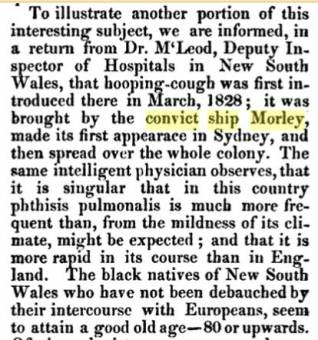 The Convict Ship Morley brought whooping cough to the colony in 1828
