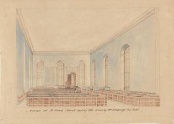 Interior of St. James Church in 1831. Painted by William Bradridge - National Library of Australia