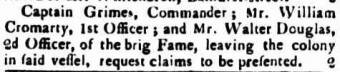 William Cromarty was employed as 1st Officer on the Fame in 1822