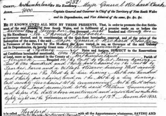 Grant of 1000 acres to William Cummings of Sydney