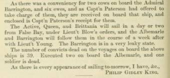Correspondence of Phillip Gidley King re the voyage of the Third Fleet mentioning Captain William Paterson on the Admiral Barrington