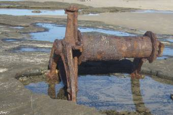 Remains of gravel winch on the beach at Norah Head